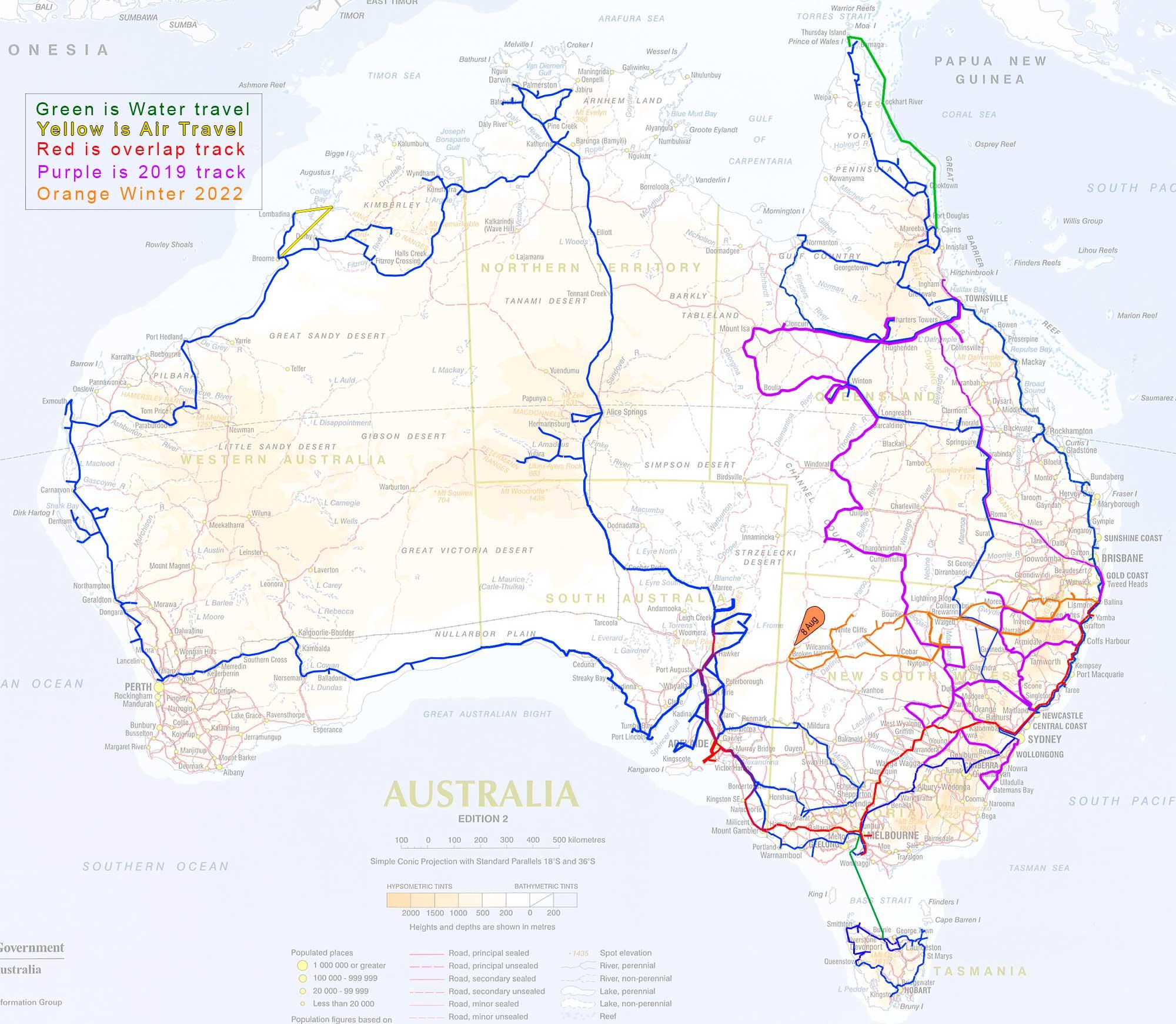 map of australia travels